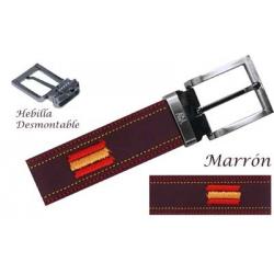 Cinturon Piel Bordado  Marron