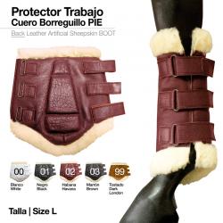 PROTECTOR TRABAJO CUERO BORREGUILLO PIE